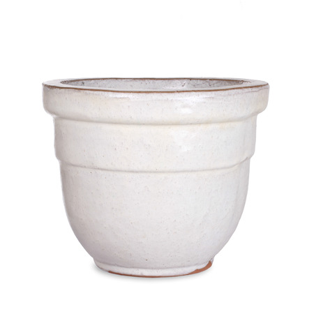Pottery, white flower pot