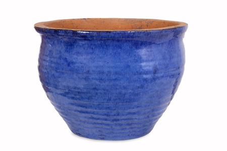 clay pot: Blue pottery flower pot Stock Photo