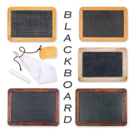 dark grey slate: Blackboards with crayon, sponge and rag