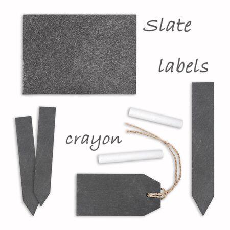 dark grey slate: Slate labels with crayon