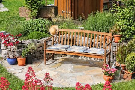 garden bench: Wooden bench in the garden