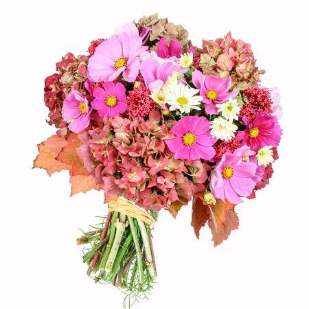 caulis: Flower bouquet with cosmea, hydrangea, chrysanthemum