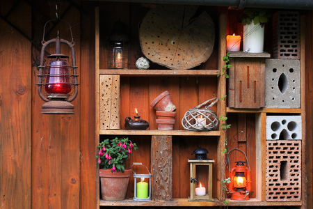 oillamp: Candles, oil lamps and lanterns in the evening