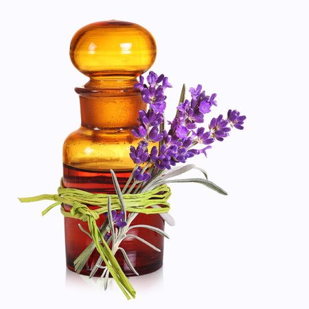 Pharmacists bottle with alternative medicine Stock Photo