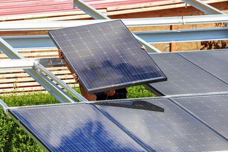 Installation of semitransparent solar modules Stock Photo