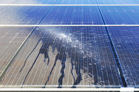 Photovoltaic cleaning, before and after Stock Photo