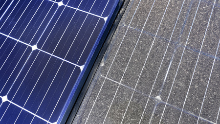 Photovoltaic cleaning, before and after Banco de Imagens