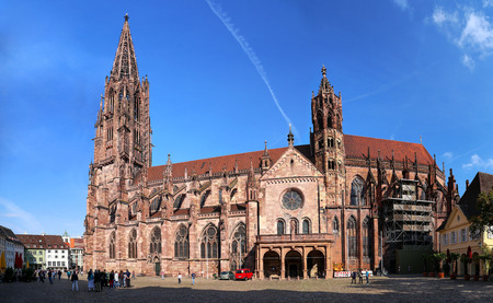 Freiburg minster without scaffolding on the tower Foto de archivo
