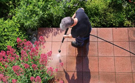 Cleaning stone slabs with the high-pressure cleaner Stok Fotoğraf - 132124882