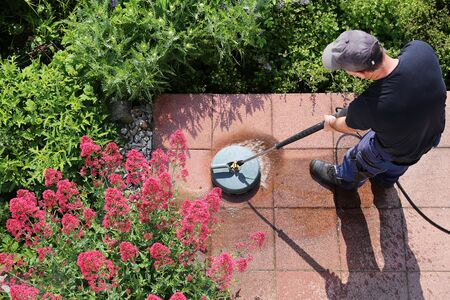 Cleaning stone slabs with the high-pressure cleaner Stok Fotoğraf - 132125479