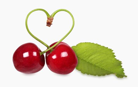 Heart cherries with leaf, heart shape