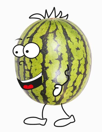 Organic fruit, here a watermelon as a comic