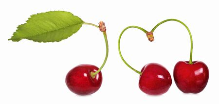 Crunchy, sweet cherries with heart symbol