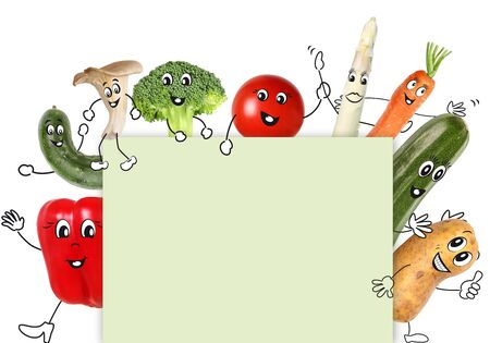 Vegetables with cartoon character hold a sign