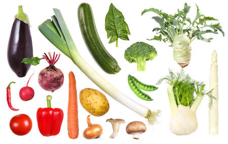 Organic vegetables sorted by color Standard-Bild