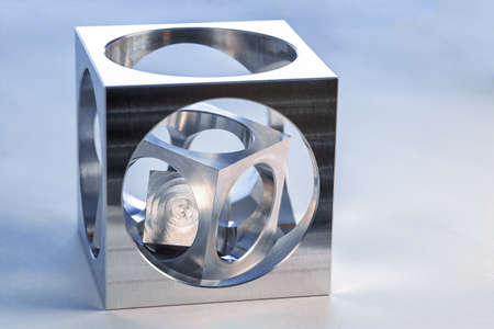 Cube in cube, workpiece on a CNC milling machine Standard-Bild