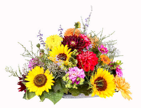Flower arrangement with sunflowers, dahlias and zinnias