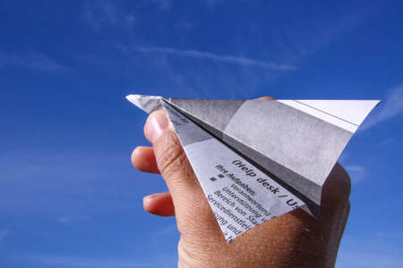 Hand with paper plane for success, business, news, solution or others