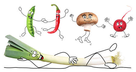 Different biologic vegetable, isolated, comic style