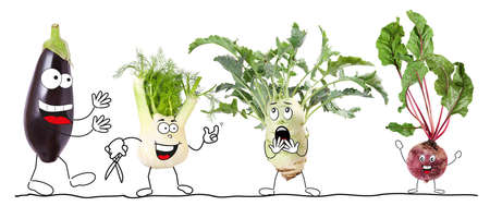Different biologic vegetable, isolated, comic