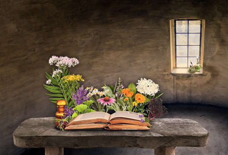 Medicinal plants of nature with old books and medicine bottles Stock Photo