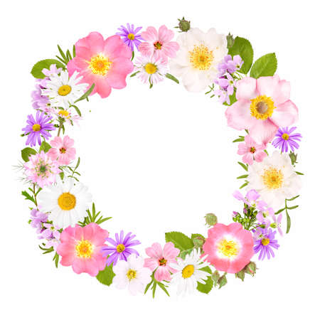 Flower wreath with roses, daisies and other flowers