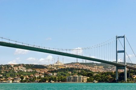 Turkey. View of the The Bosphorus Bridge and new mosque in Istanbul