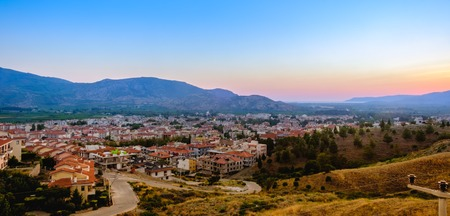 Selcuk, Turkey. Panorama of the view of the city and the mountains at sunset.