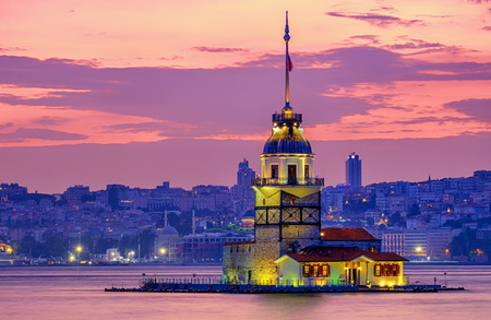 Magic Sunset in Istanbul, Turkey. View of the Maiden Tower and the Bosphorus