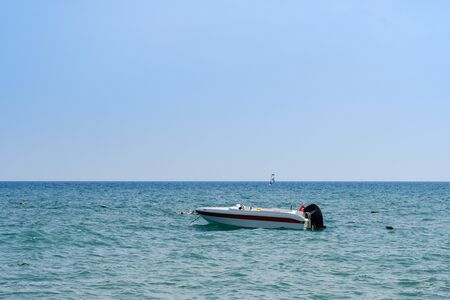 Powerboat on the Mediterranean Sea on the beach