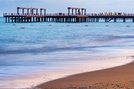 Turkey. Antalya. View of the Mediterranean Sea and the pier at sunset Stock Photo