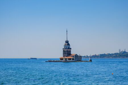 Istanbul, Turkey. Maidens Tower in the Sea of Marmara. View from the pier Uksyudar Imagens