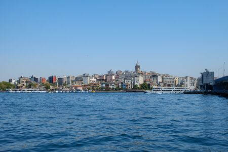 Istanbul, Turkey. View of the Galata Tower, Beoglu district and the Golden Horn Stock Photo