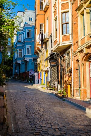 Istanbul, Turkey. July 21, 2019. Fatih historic district, Balat quarter, view of the street and houses 에디토리얼