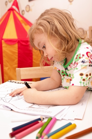 kids drawing: Young girl playing