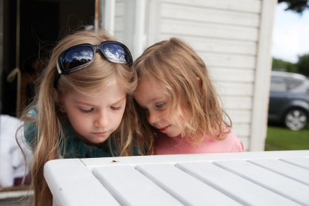 dead insect: Girls looking at a dead insect