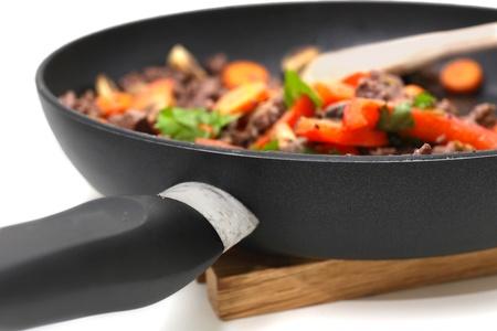 wok: Wok in a pan