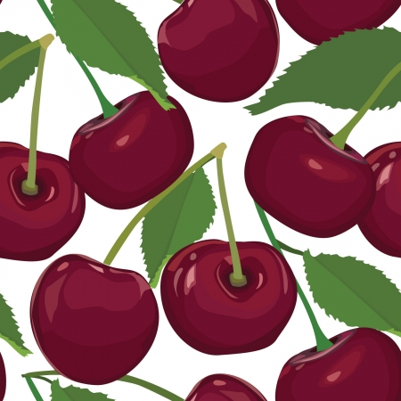 country kitchen: cherry seamless pattern, ripe berry on white background