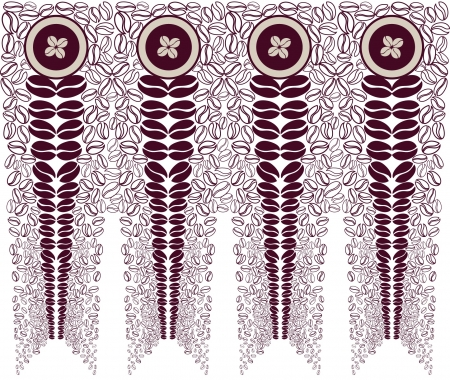 seamless pattern background with coffee beans in art-deco style  Vector