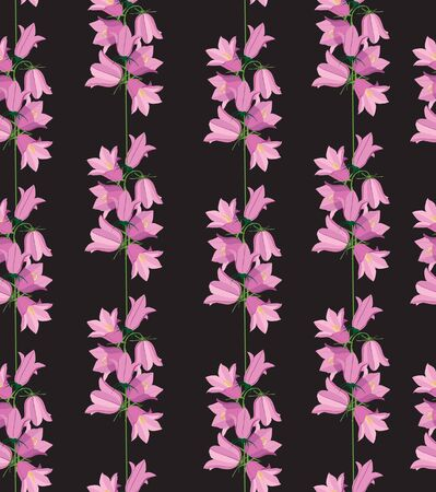 an inflorescence: flower seamless pattern background with lilac bluebell on black