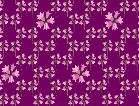 bluebell: flower seamless pattern background with pink bluebell Illustration