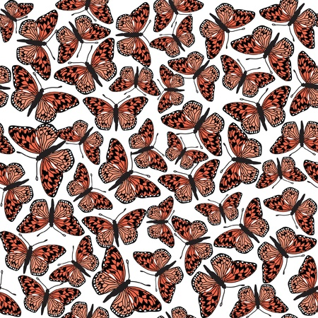pastiche: colorful butterfly seamless pattern  on white background