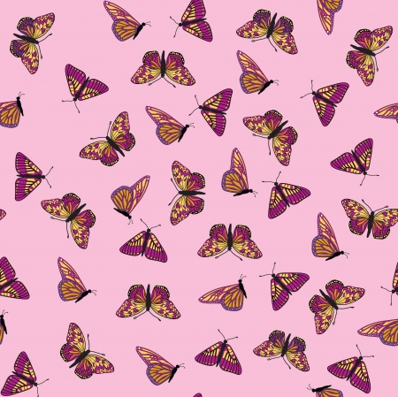 pastiche: colorful butterfly seamless pattern  on pink background