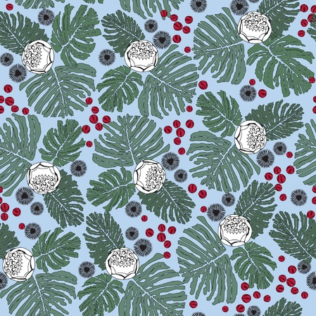 seamless background from flowers, fern leaves and wild berries  Vector