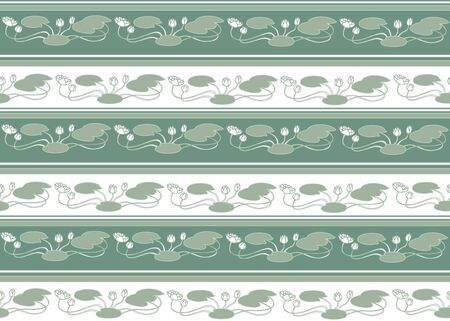 artnouveau: floral stripy seamless pattern with flowers water lilie in a retro style Illustration
