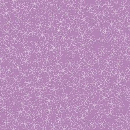 violet flowers: floral seamless pattern with white outline flowers on pink background