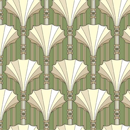 pale ocher: floral seamless pattern in retro style,  architectural background