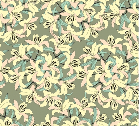 orange lily: flower seamless pattern with yellow lily, floral background