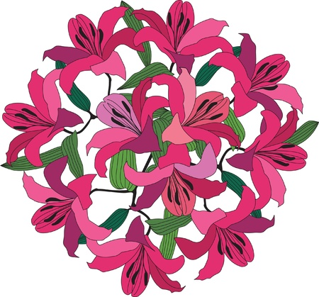 flower bouquet with pink, red and crimson lily Illustration