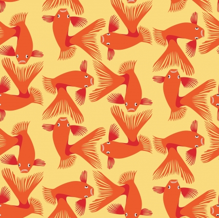 goldfish seamless pattern  background from red and orange fish Vector